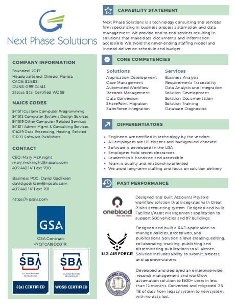 Next Phase Solutions Capability Statement