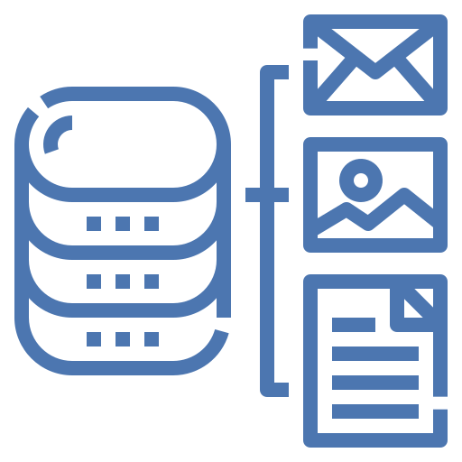 Data Management - server with email images and document icons